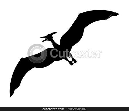 Pterosauria silhouette dinosaur jurassic prehistoric animal stock vector clipart, Pterosauria silhouette dinosaur jurassic prehistoric animal. Vector illustration by kozyrevaelena