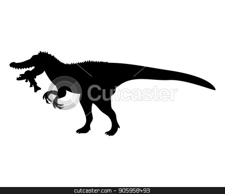 Baryonyx silhouette dinosaur jurassic prehistoric animal stock vector clipart, Baryonyx silhouette dinosaur jurassic prehistoric animal. Vector illustration by kozyrevaelena
