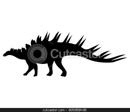 Kentrosaurus silhouette dinosaur jurassic prehistoric animal stock vector clipart, Kentrosaurus silhouette dinosaur jurassic prehistoric animal. Vector illustration by kozyrevaelena