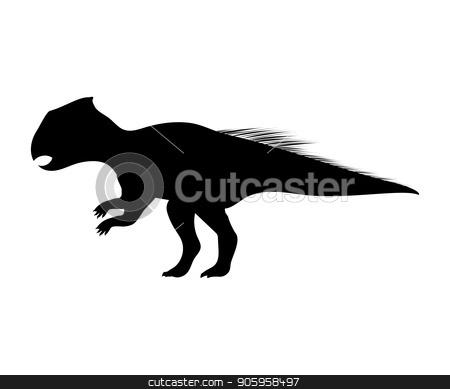 Archaeoceratops silhouette dinosaur prehistoric animal stock vector clipart, Archaeoceratops silhouette dinosaur prehistoric animal. Vector illustration by kozyrevaelena