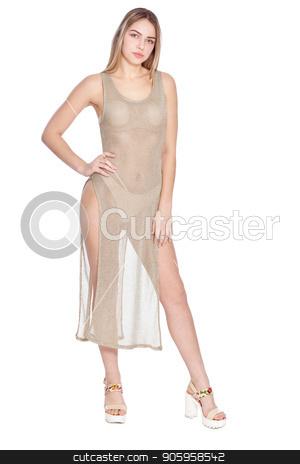 beautiful woman in  dress  posing stock photo, portrait of beautiful woman in  dress  posing isolated  on white by Ruslan Huzau