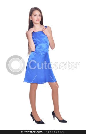 beautiful girl in blue dress posing  stock photo, beautiful girl in blue dress posing  isolated on white background by Ruslan Huzau