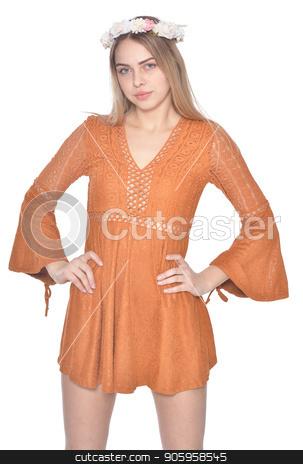 portrait of beautiful woman in orange dress posing stock photo, portrait of beautiful woman in orange dress posing isolated  on white background by Ruslan Huzau