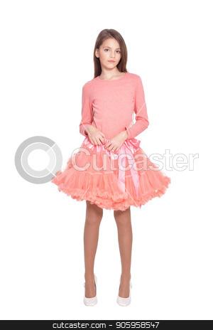 beautiful girl in pink dress  posing  stock photo, beautiful girl in pink dress  posing  isolated on white background by Ruslan Huzau