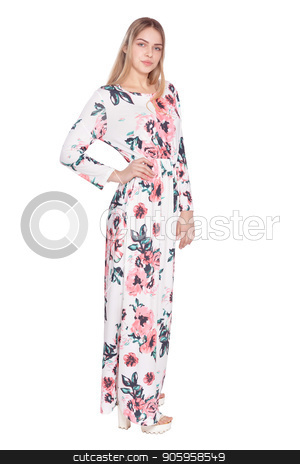 beautiful woman in  floral dress  stock photo, portrait of beautiful woman in  floral dress  posing isolated  on white by Ruslan Huzau