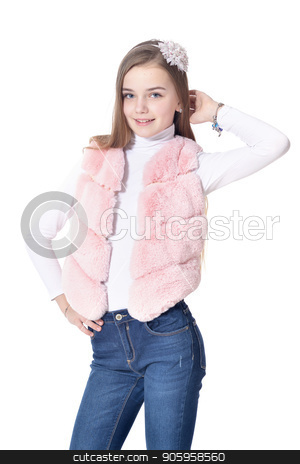 Happy little girl in pink fur vest posing stock photo, Happy little girl in pink fur vest posing  isolated on white background by Ruslan Huzau