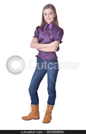 Happy little girl in jeans  posing  stock photo, Happy little girl in jeans  posing  isolated on white background by Ruslan Huzau