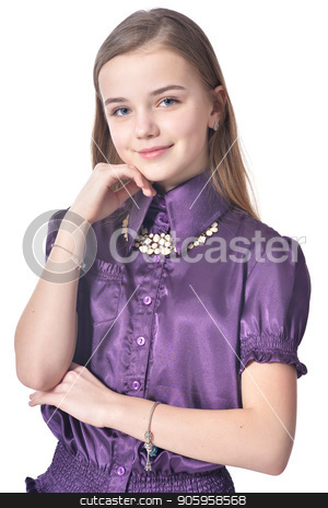 Happy teen girl in purple blouse posing  stock photo, Happy teen girl in purple blouse posing isolated on white background by Ruslan Huzau