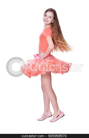 Happy little girl  in dress posing stock photo, Happy little girl  in dress posing  isolated on white background by Ruslan Huzau