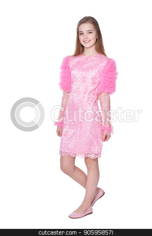 Happy little girl in carnival costume stock photo, Happy little girl in carnival costume  posing  isolated on white background by Ruslan Huzau