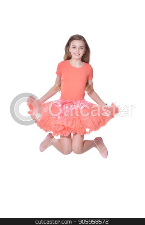 Happy little girl in pink dress jumping stock photo, Happy little girl in pink dress jumping isolated on white background by Ruslan Huzau