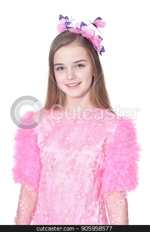 Happy little girl in pink carnival costume  posing  stock photo, Happy little girl in pink carnival costume  posing  isolated on white background by Ruslan Huzau