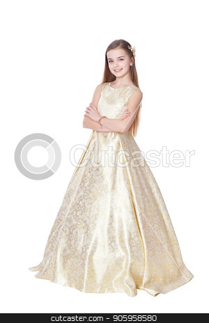 Happy little girl in carnival costume  posing  stock photo, Happy little girl in carnival costume  posing  isolated on white background by Ruslan Huzau
