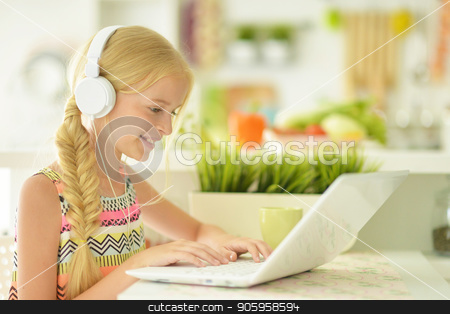 the girl in the kitchen stock photo, beautiful young girl in kitchen with laptop by Ruslan Huzau