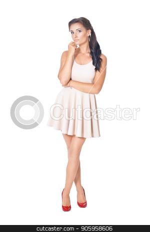 portrait of beautiful woman in dress stock photo, portrait of beautiful woman in dress  posing isolated  on white by Ruslan Huzau