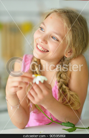 Blonde with flower stock photo, portrait of a cute girl posing with flower by Ruslan Huzau