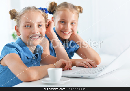 two adorable twin sisters stock photo, two adorable twin sisters using laptop at home by Ruslan Huzau