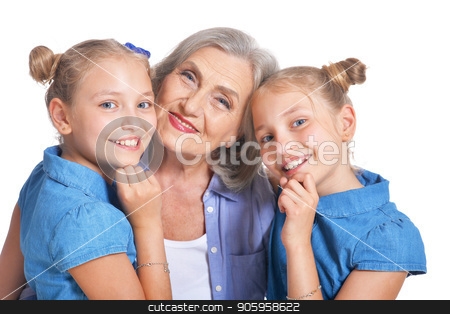 Grandmother with two adorable twin granddaughters stock photo, Grandmother with two adorable twin granddaughters posing isolated on white background by Ruslan Huzau
