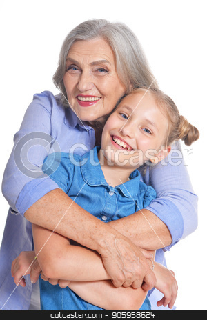 Grandmother with adorable granddaughter stock photo, Grandmother with adorable granddaughter posing isolated on white background by Ruslan Huzau