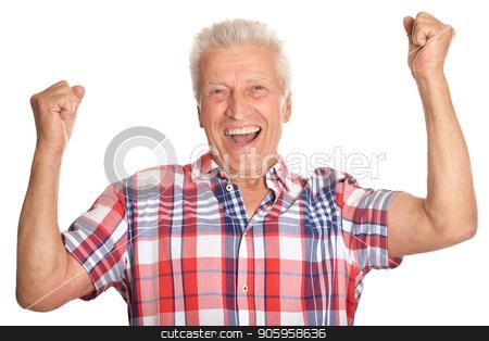 smiling senior man posing stock photo, smiling senior man posing isolated on white background by Ruslan Huzau