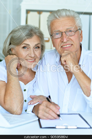 happy beautiful senior couple stock photo, happy senior couple using  laptop  at home by Ruslan Huzau