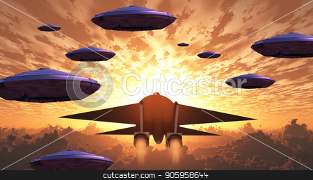 Aircrafts stock photo, Sunset. Flying saucers and jet plane together. by Bruce Rolff