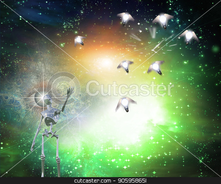Bringing ideas stock photo, Alien bringing ideas in universe by Bruce Rolff