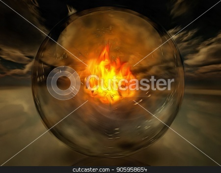 Fire stock photo, Crystal sphere with fire inside. by Bruce Rolff