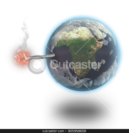 Wick Earth stock photo, Planet Earth like a bomb with a wick. 3D rendering by Bruce Rolff