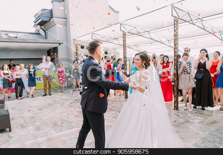 Cheerful newlyweds are dancing their first dance in the rain of confetti. stock photo, Cheerful newlyweds are dancing their first dance in the rain of confetti by Andrii Kobryn