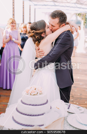 The vertical photo of the kissing newlyweds behind the wedding cake. stock photo, The vertical photo of the kissing newlyweds behind the wedding cake by Andrii Kobryn