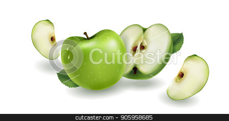 Green apples on a white background stock vector clipart, Realistic green apples on a white background, by ConceptCafe