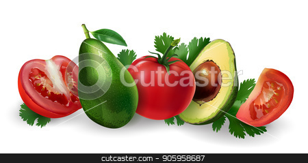 Avocado and tomato stock vector clipart, Avocado and tomato slices on a white background. by ConceptCafe