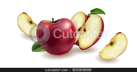 Red apples on a background stock vector clipart, Realistic red apples on a white background. by ConceptCafe