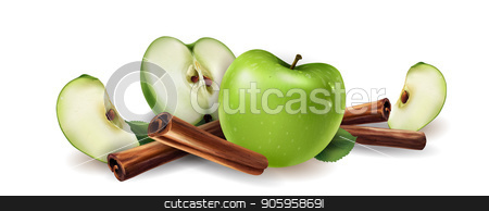 Cinnamon and green apples stock vector clipart, Cinnamon and green apples on a white background. by ConceptCafe