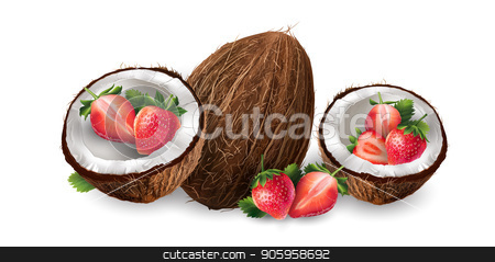 Coconut and strawberry stock vector clipart, Realistic coconut and strawberry on a white background. by ConceptCafe