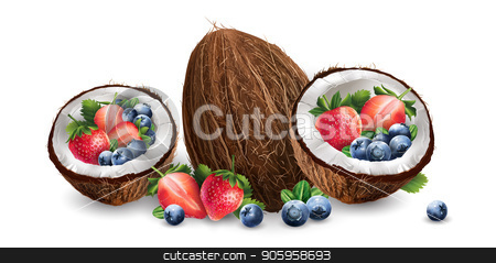 Coconut, blueberries and strawberry stock vector clipart, Coconut, blueberries and strawberry on a white background. by ConceptCafe