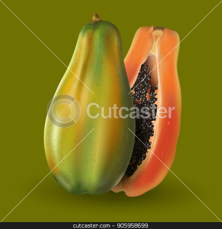 Papaya on green background stock vector clipart, Papaya or pawpaw slices on green background. by ConceptCafe