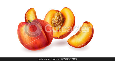Peach on white background stock vector clipart, Peach and slices on white background. by ConceptCafe