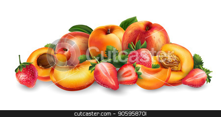 Apricot, peach and strawberry stock vector clipart, Apricot, peach and strawberry and cut slices on a white background. by ConceptCafe