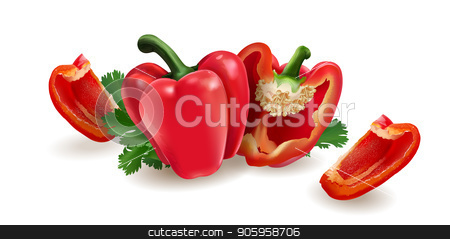 Red pepper on white background stock vector clipart, Red pepper isolated realistic illustration on white background. by ConceptCafe