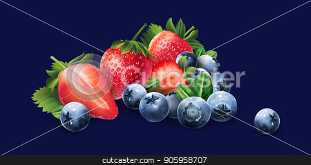 Blueberries and strawberries stock vector clipart, Blueberries and strawberries on a dark blue background. by ConceptCafe