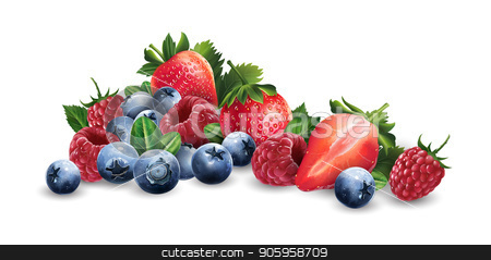 Raspberries, blueberries and strawberries stock vector clipart, Raspberries, blueberries and strawberries on a white background. by ConceptCafe