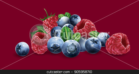 Raspberries, blueberries and strawberries stock vector clipart, Raspberries, blueberries and strawberries on a red background. by ConceptCafe