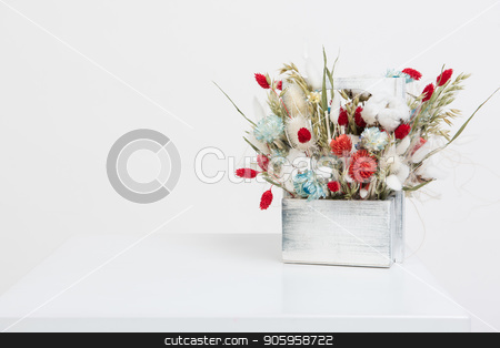 Beauty bouquet of dried flowers stock photo, Beauty bouquet of dried flowers on a white by olinchuk