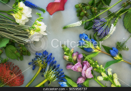 Flowers composition flatlay stock photo, Flowers composition on a gray paper background by olinchuk