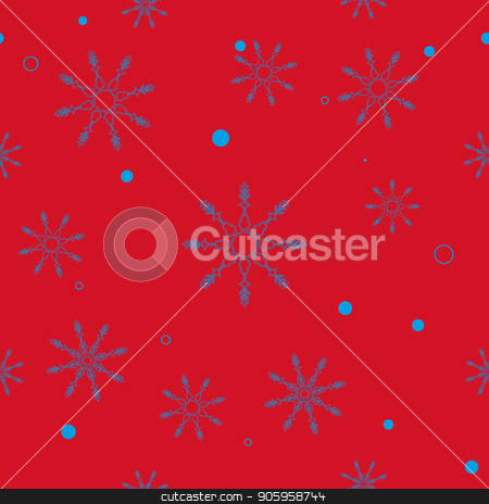 Abstract Christmas and New Year Seamless on red Background. snowflake pattern. Vector Illustration EPS 10 stock vector clipart, Abstract Christmas and New Year Seamless on red Background. snowflake pattern. Vector Illustration EPS10 by elnurbabayev