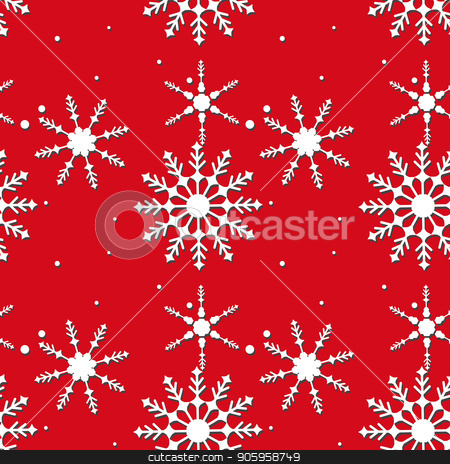 Abstract Christmas and New Year Seamless Pattern on red Background. Vector Illustration EPS10 stock vector clipart, Abstract Christmas and New Year Seamless Pattern on red Background. Vector Illustration EPS 10 by elnurbabayev