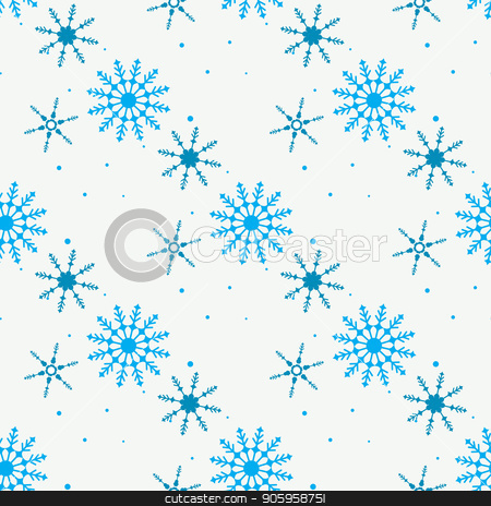 Snowflake simple seamless pattern. Blue snow on white background. Abstract wallpaper, wrapping decoration. Symbol of winter, Merry Christmas holiday, Happy New Year celebration Vector illustration stock vector clipart, Snowflake simple seamless pattern. Blue snow on white background. Abstract wallpaper, wrapping decoration. Symbol of winter, Merry Christmas holiday, Happy New Year celebration Vector illustration eps10 by elnurbabayev