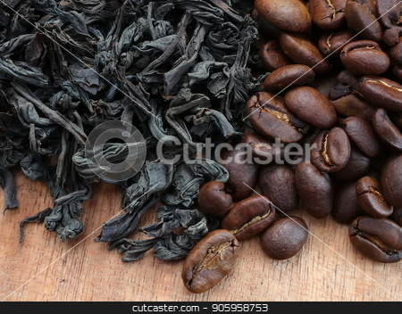 Dry tea and coffee on the table stock photo, Dry tea and coffee are scattered on the table by Oleksii Tim